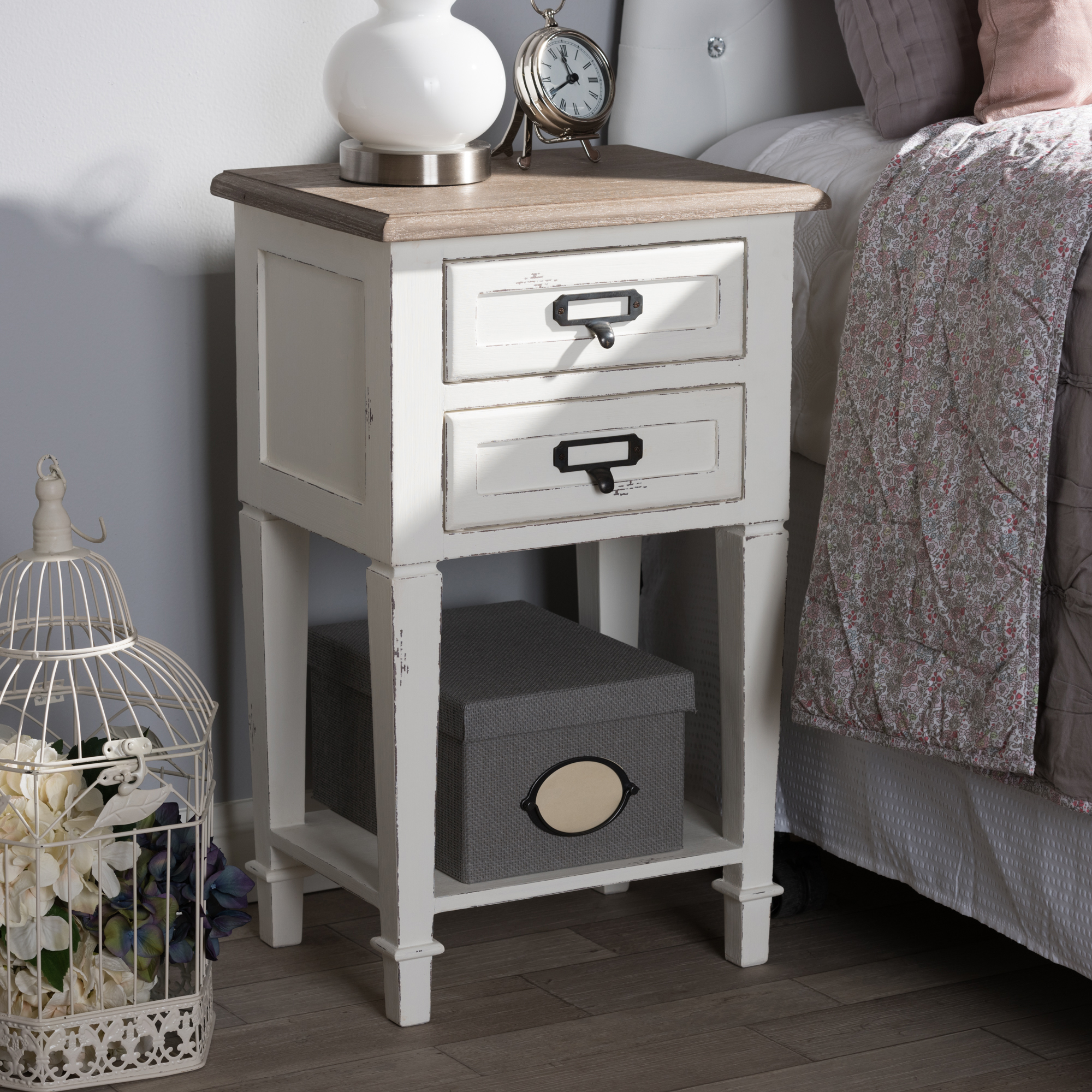 distressed white washed furniture. Baxton Studio Dauphine Provincial Style Weathered Oak And White Wash Distressed Finish Wood Nightstand - IECHR20VM Washed Furniture A