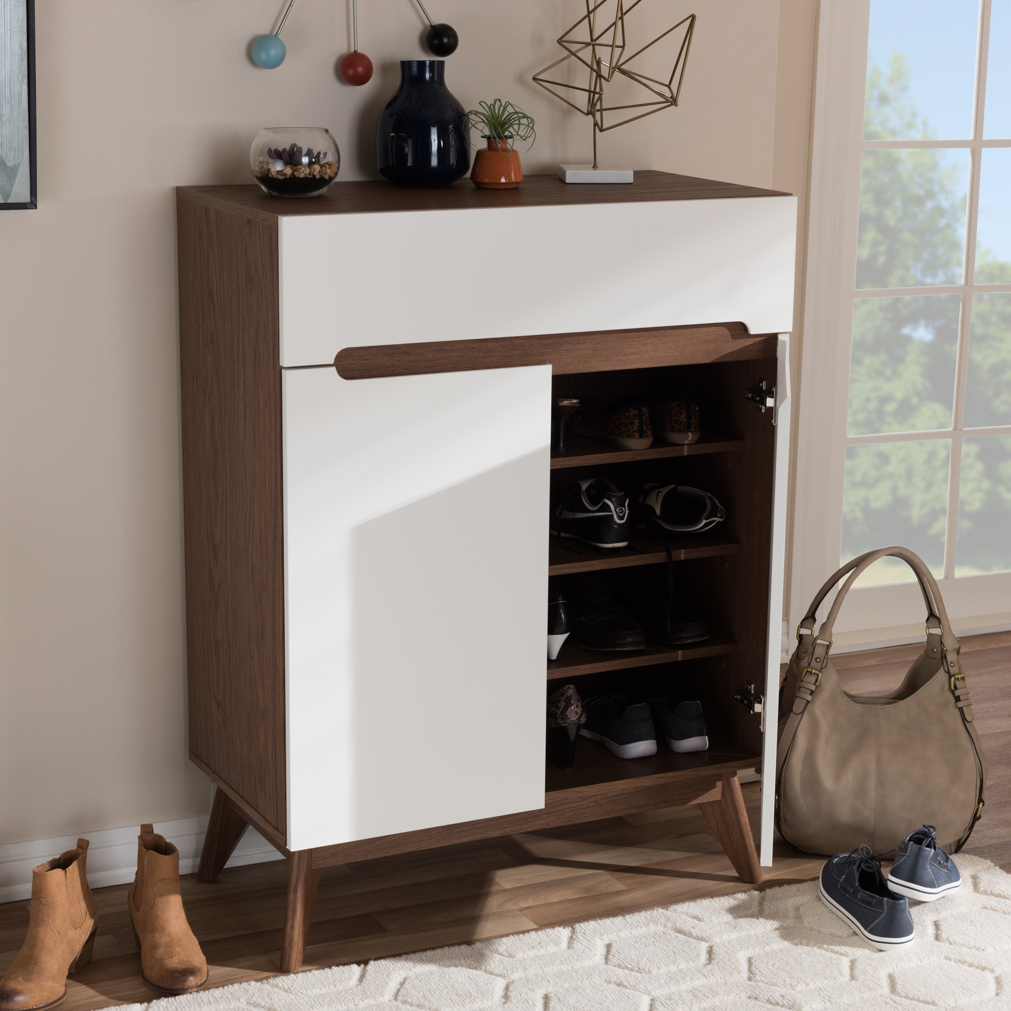 ... Baxton Studio Calypso Mid Century Modern White And Walnut Wood Storage Shoe  Cabinet   IECalypso ...