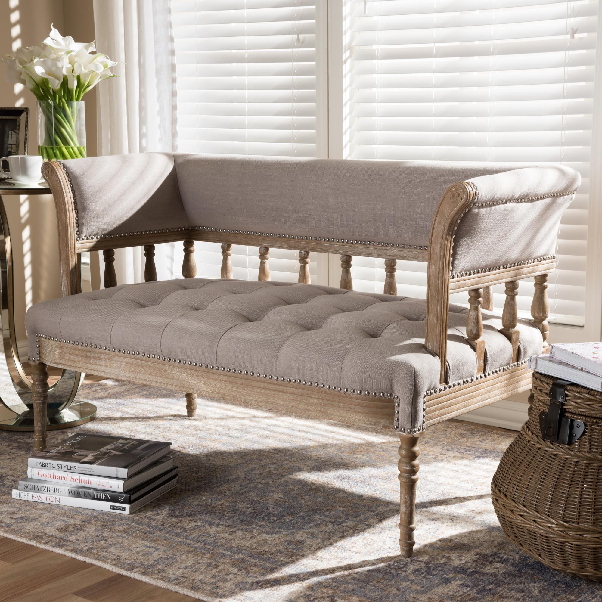 ... Baxton Studio Nora Swedish Gustavian Style Distressed Oak Wood Linen  Upholstered Sofa Settee   IETSF  ...