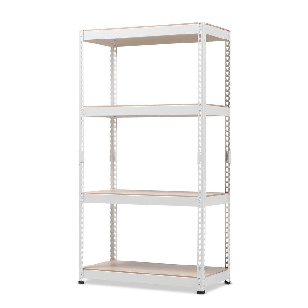 Baxton studio cody white metal 4 shelf multipurpose shelving rack