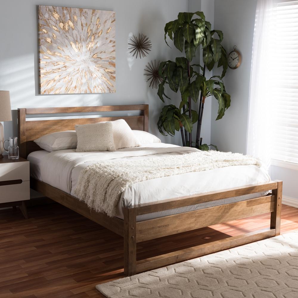 baxton studio torino mid century modern solid walnut wood open frame style queen size platform - Mid Century Modern Bed Frame