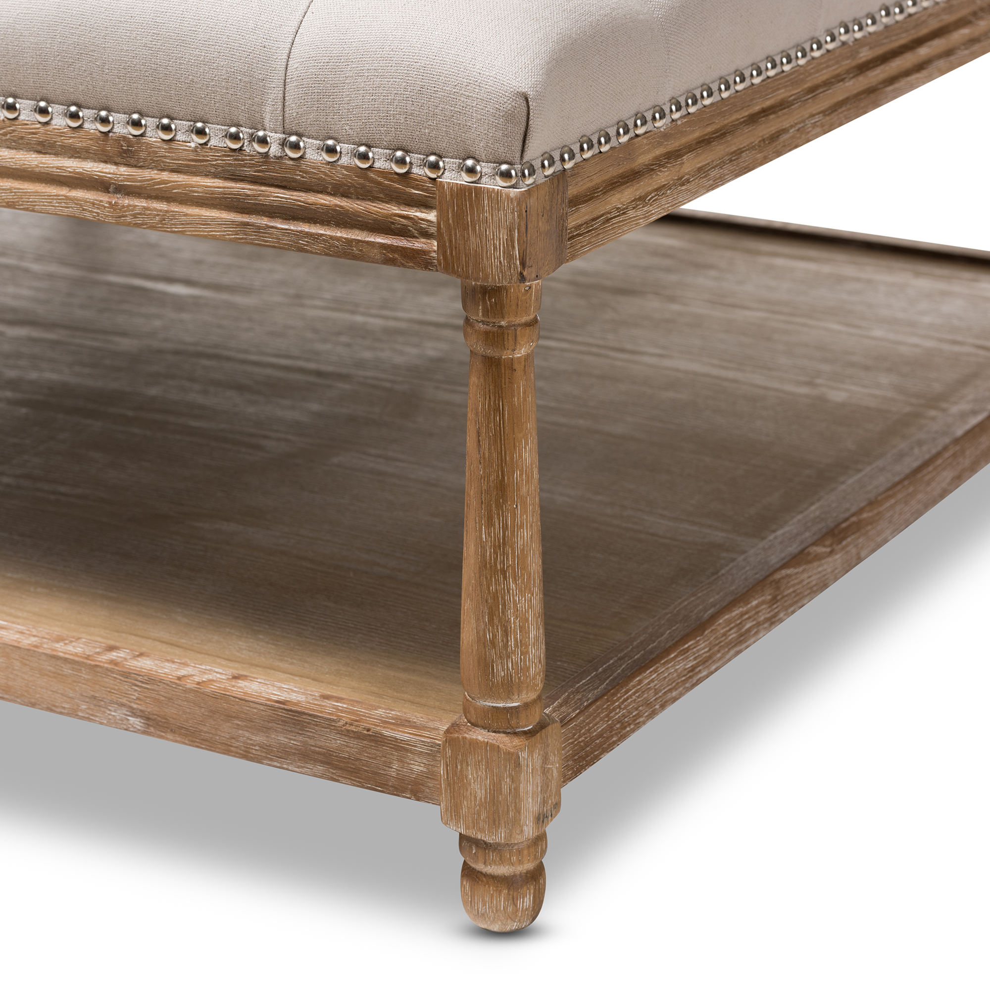 ... Baxton Studio Carlotta French Country Weathered Oak Beige Linen Square  Coffee Table Ottoman   IETSF  ...