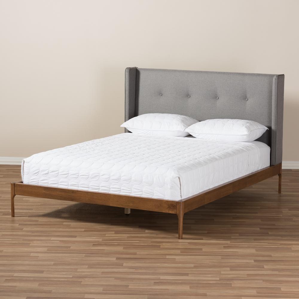 Baxton Studio Brooklyn Mid-Century Modern Walnut Wood Grey Fabric ...