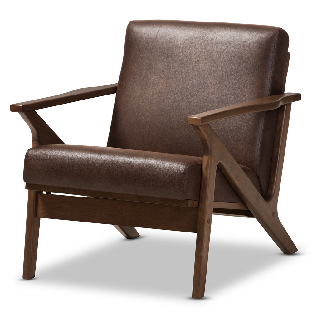 Awesome Baxton Studio Bianca Mid Century Modern Walnut Wood Dark Brown Distressed Faux Leather Lounge Chair Ibusinesslaw Wood Chair Design Ideas Ibusinesslaworg
