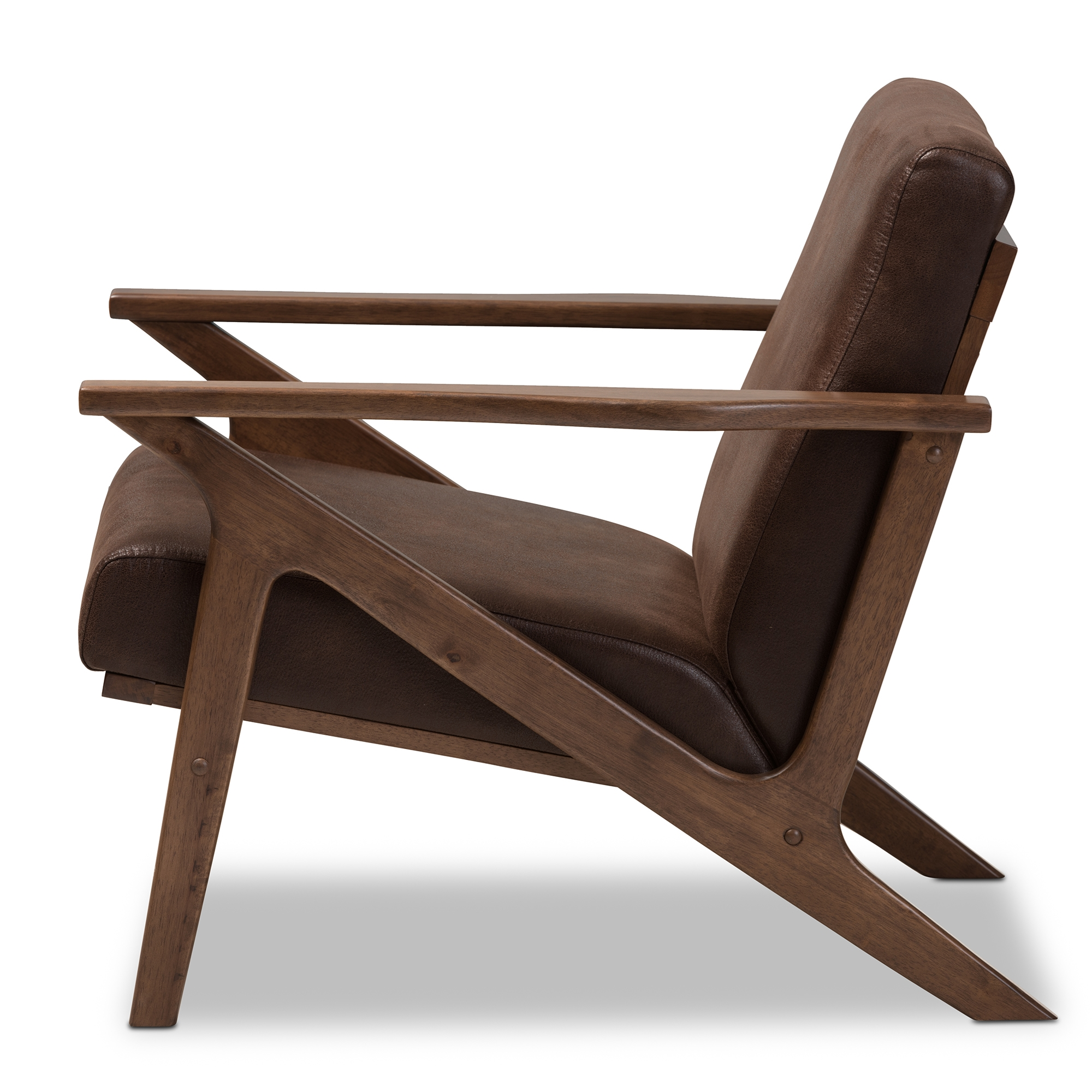 ... Baxton Studio Bianca Mid Century Modern Walnut Wood Dark Brown  Distressed Faux Leather Lounge Chair ...