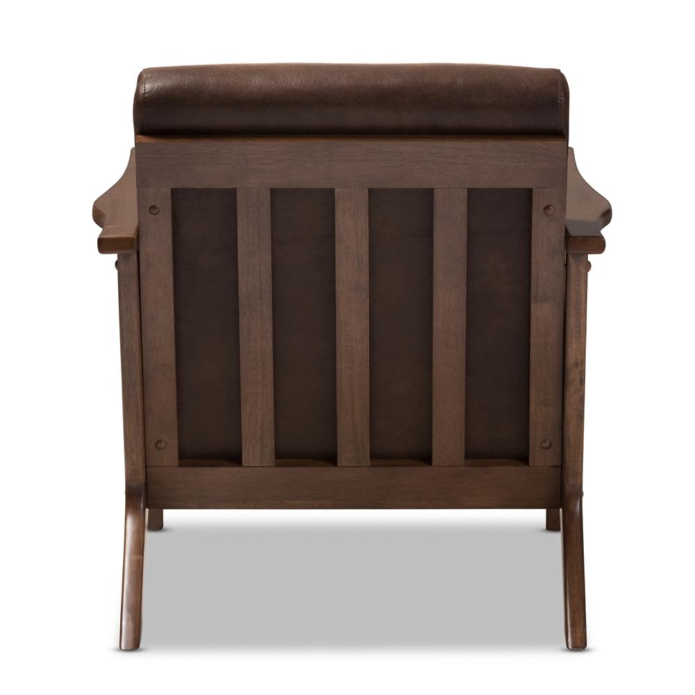 Baxton studio bianca mid century modern walnut wood dark brown distressed faux leather lounge chair