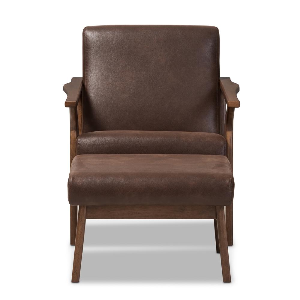 Admirable Baxton Studio Bianca Mid Century Modern Walnut Wood Dark Brown Distressed Faux Leather Lounge Chair And Ottoman Set Uwap Interior Chair Design Uwaporg