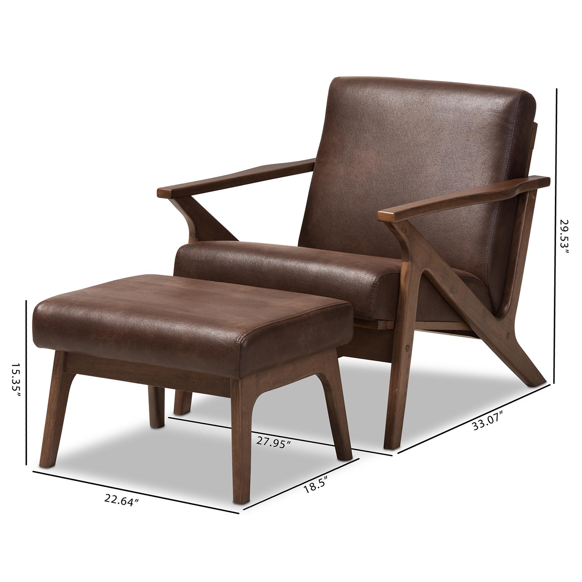 ... Baxton Studio Bianca Mid Century Modern Walnut Wood Dark Brown  Distressed Faux Leather Lounge Chair