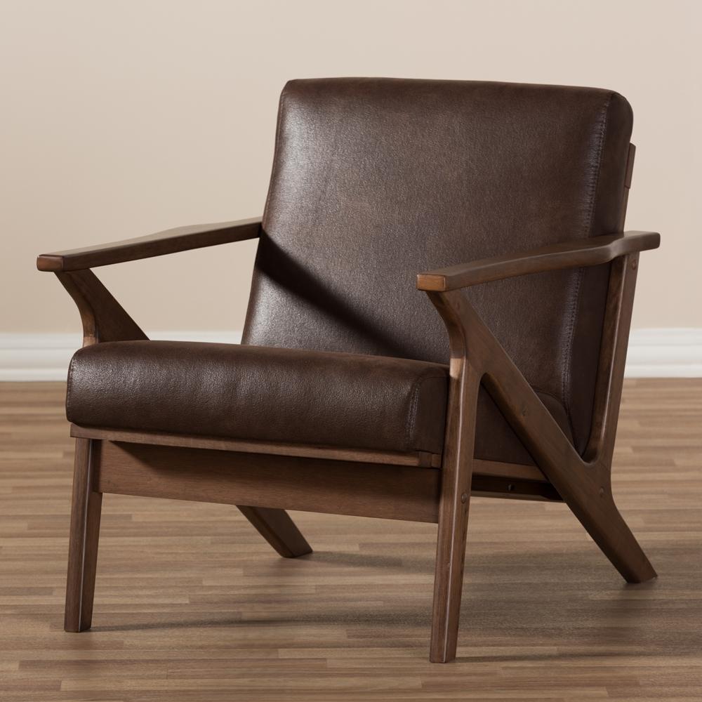 Baxton Studio Bianca Mid Century Modern Walnut Wood Dark Brown