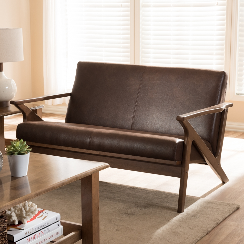 Fine Baxton Studio Bianca Mid Century Modern Walnut Wood Dark Brown Distressed Faux Leather 2 Seater Loveseat Gmtry Best Dining Table And Chair Ideas Images Gmtryco