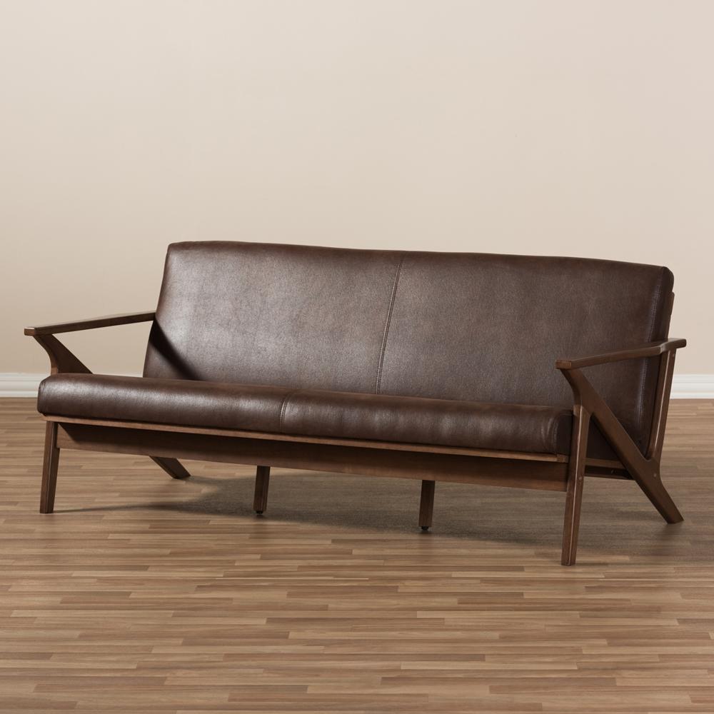 Baxton Studio Bianca Mid Century Modern Walnut Wood Dark