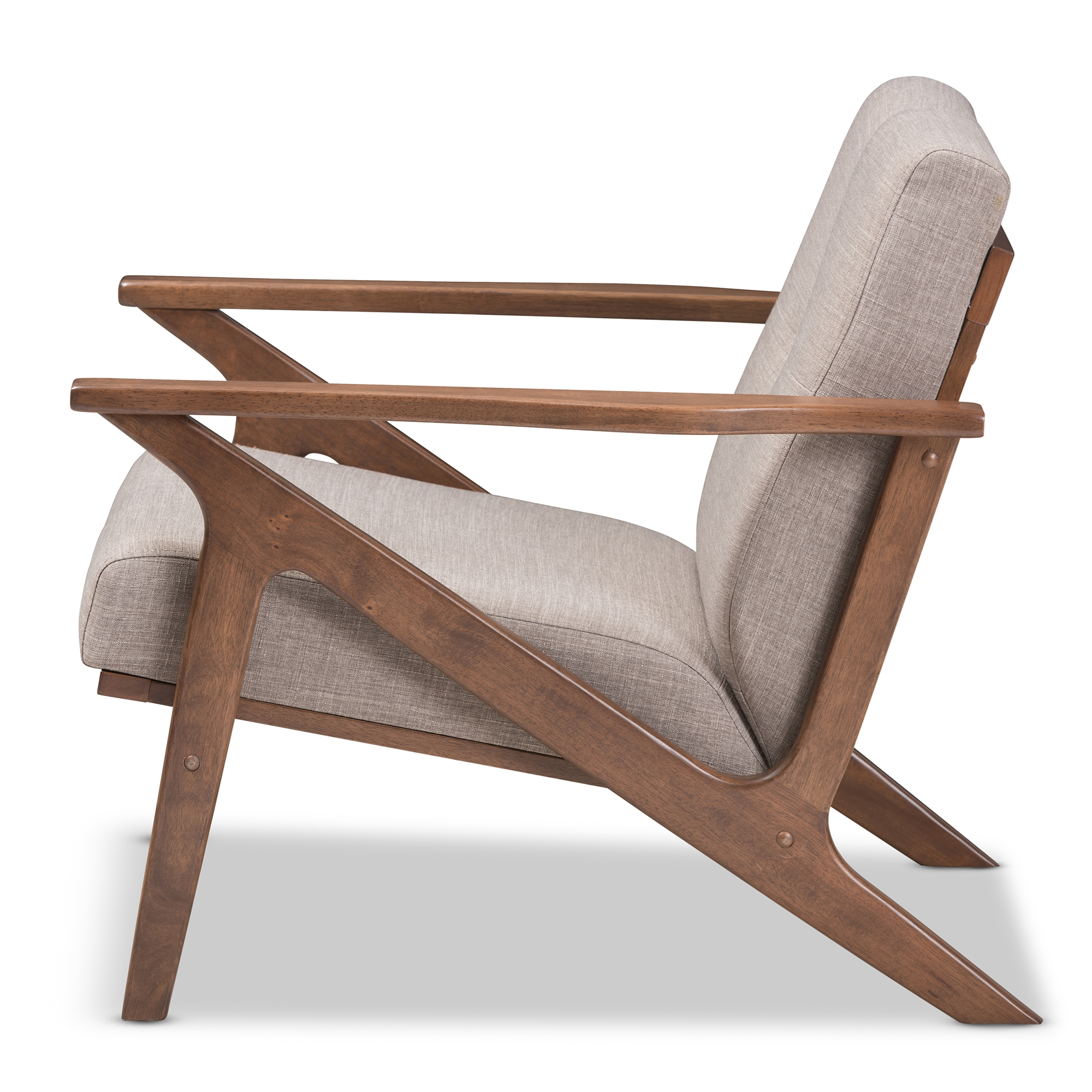 ... Baxton Studio Bianca Mid Century Modern Walnut Wood Light Grey Fabric Tufted  Lounge Chair ...