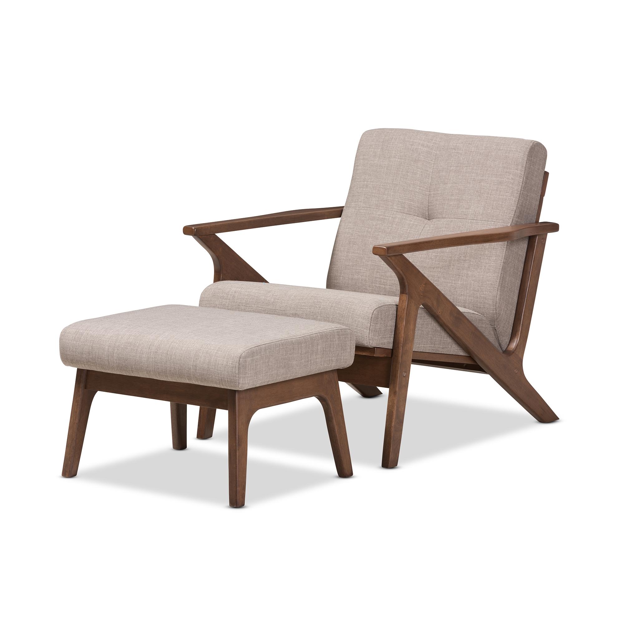 Superbe Baxton Studio Bianca Mid Century Modern Walnut Wood Light Grey Fabric Tufted  Lounge Chair And Ottoman Set
