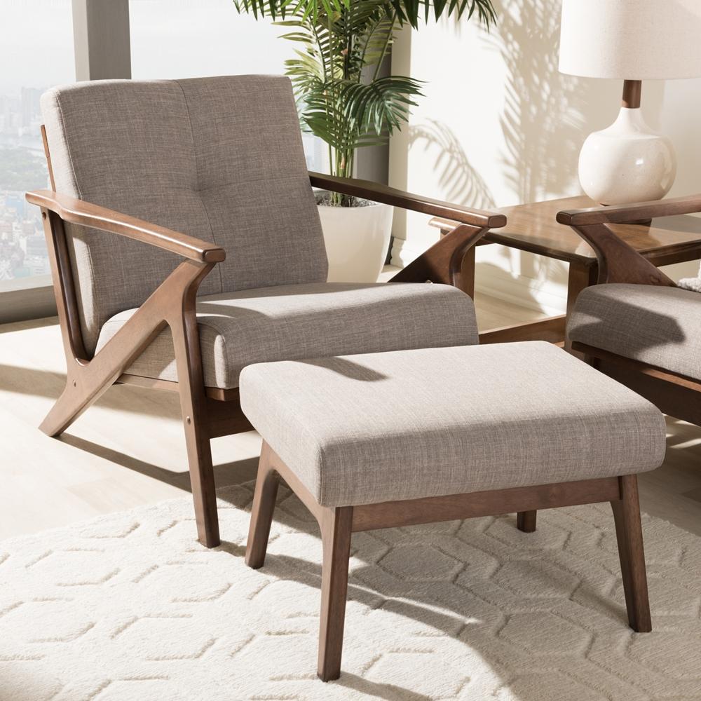Excellent Baxton Studio Bianca Mid Century Modern Walnut Wood Light Grey Fabric Tufted Lounge Chair And Ottoman Set Uwap Interior Chair Design Uwaporg