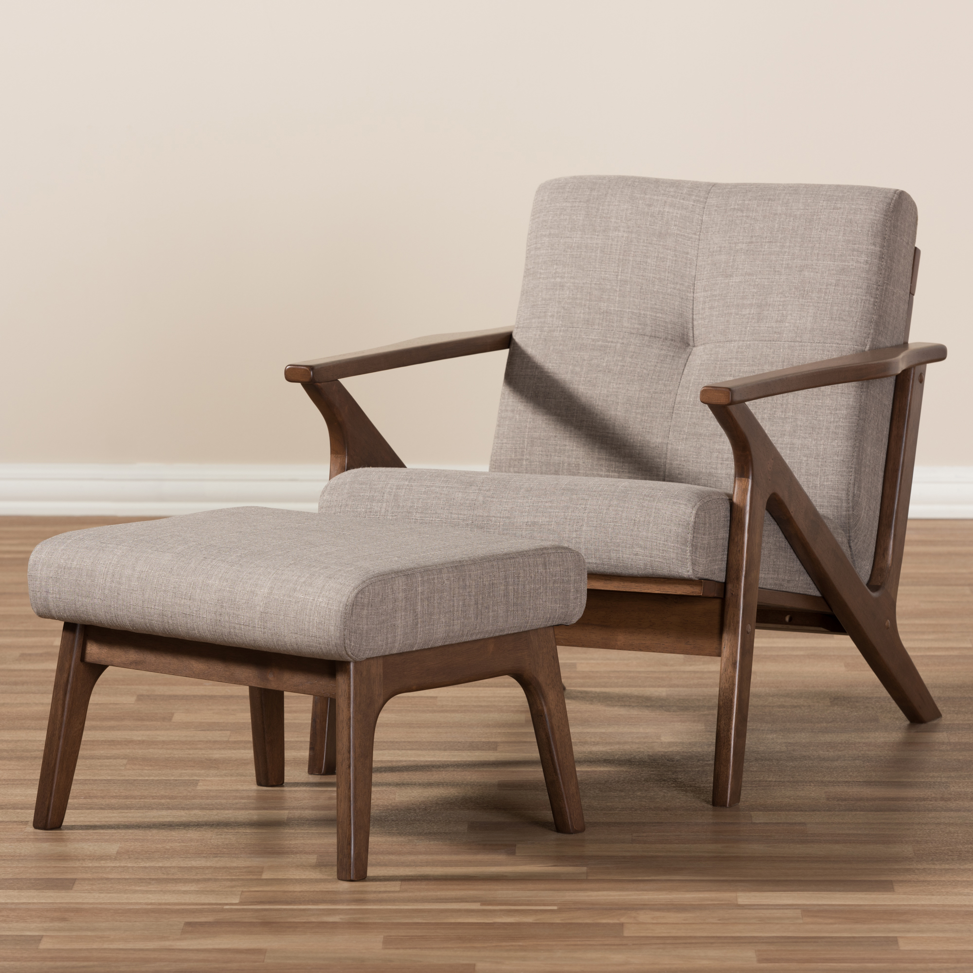 ... Baxton Studio Bianca Mid Century Modern Walnut Wood Light Grey Fabric Tufted  Lounge Chair And ...