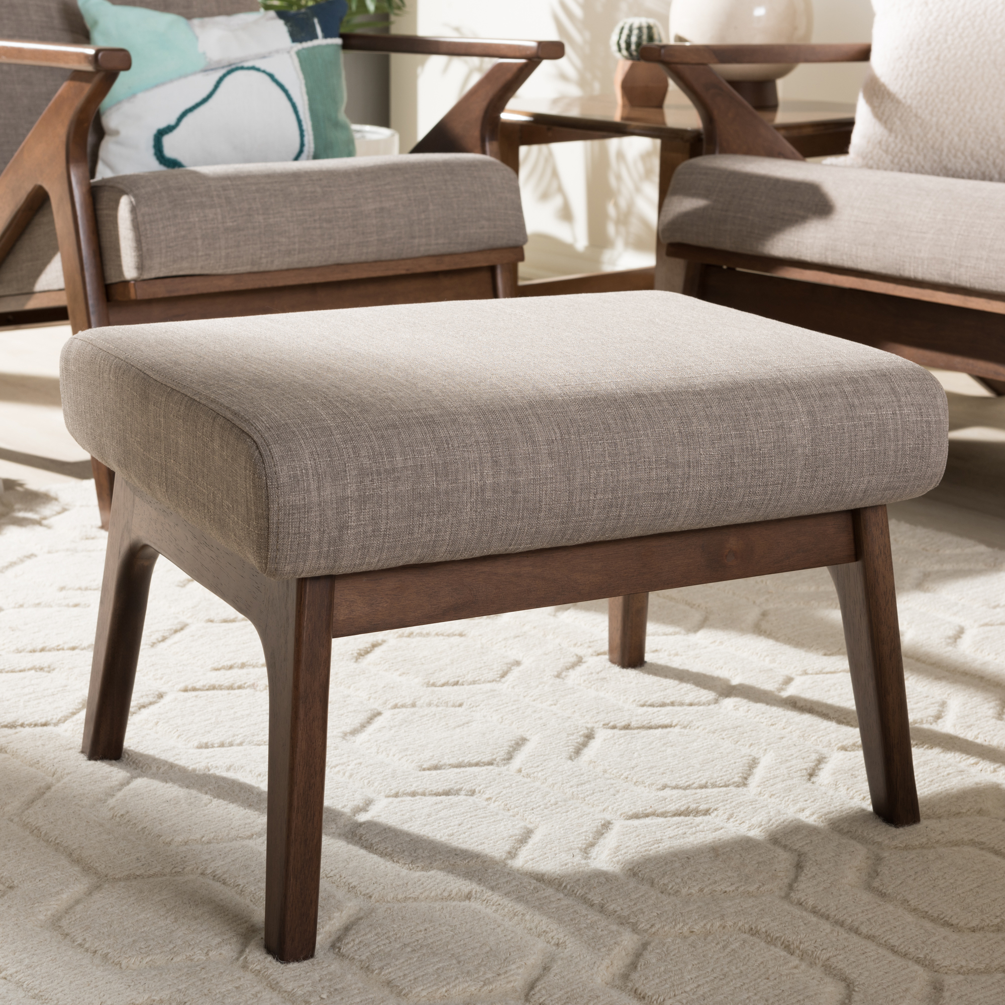 ... Baxton Studio Bianca Mid Century Modern Walnut Wood Light Grey Fabric  Ottoman   IEBianca  ...