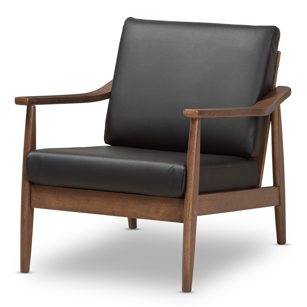 Baxton studio venza mid century modern walnut wood black for Modern leather club chairs