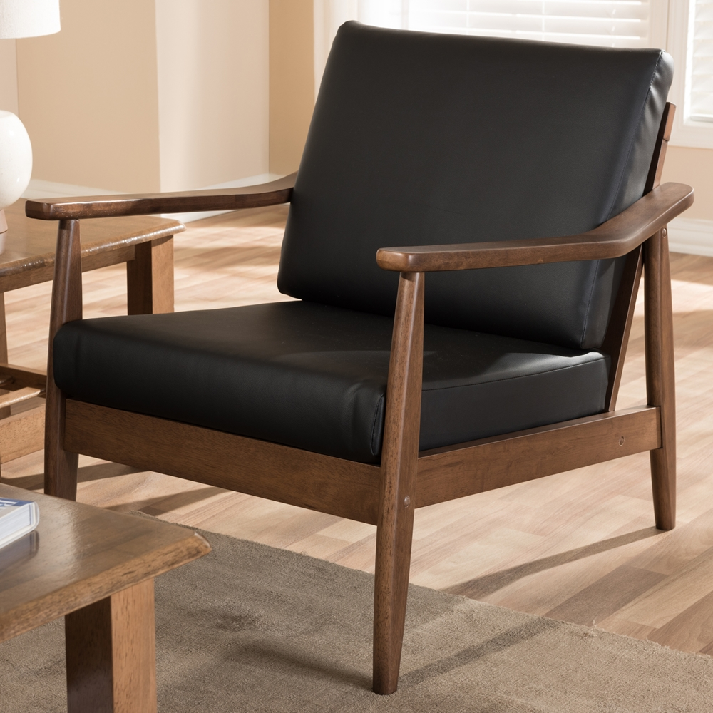 Baxton Studio Venza Mid Century Modern Walnut Wood Black Faux