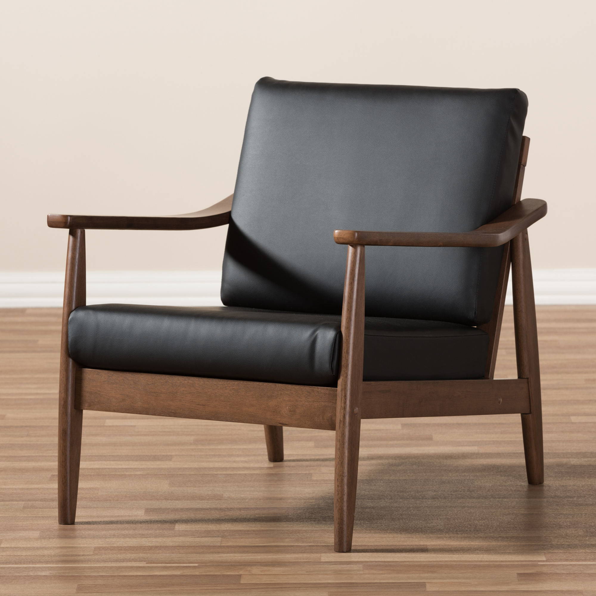 ... Baxton Studio Venza Mid Century Modern Walnut Wood Black Faux Leather  Lounge Chair   IEVenza ...