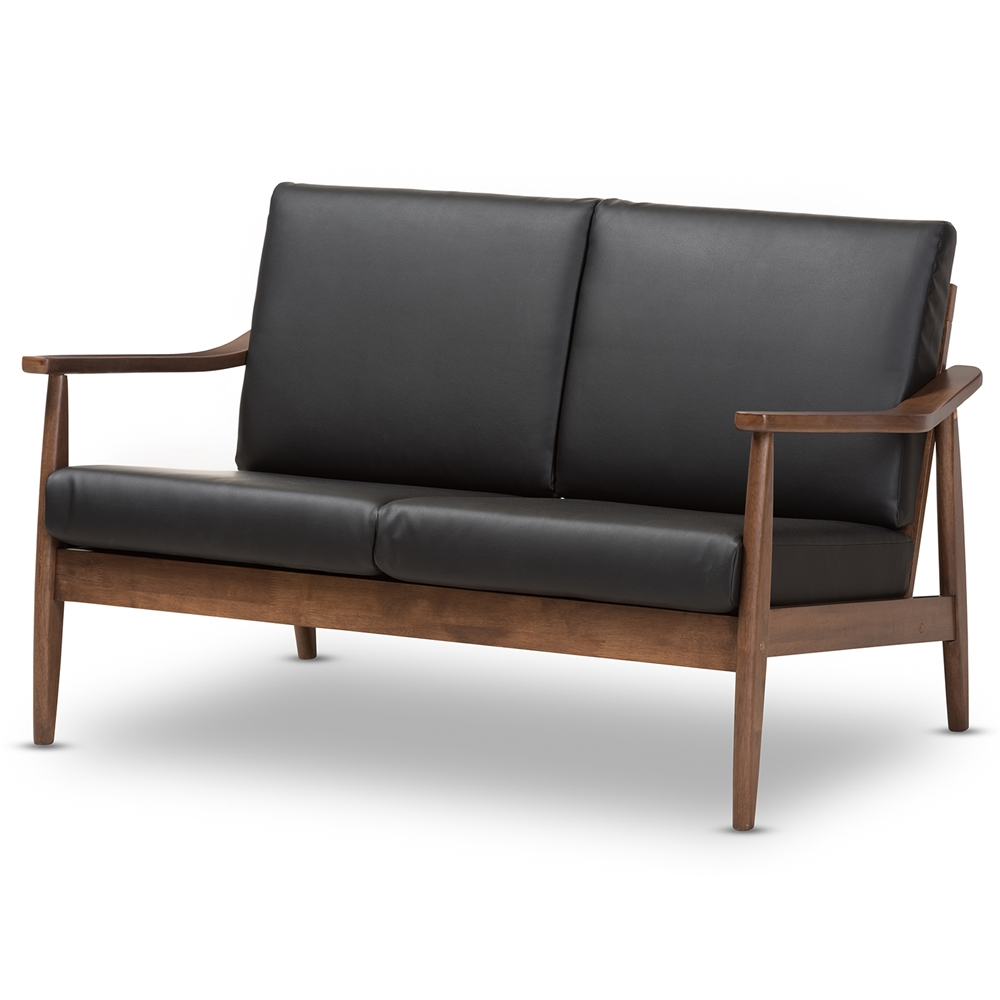 Baxton Studio Venza Mid Century Modern Walnut Wood Black Faux Leather 2 Seater Loveseat