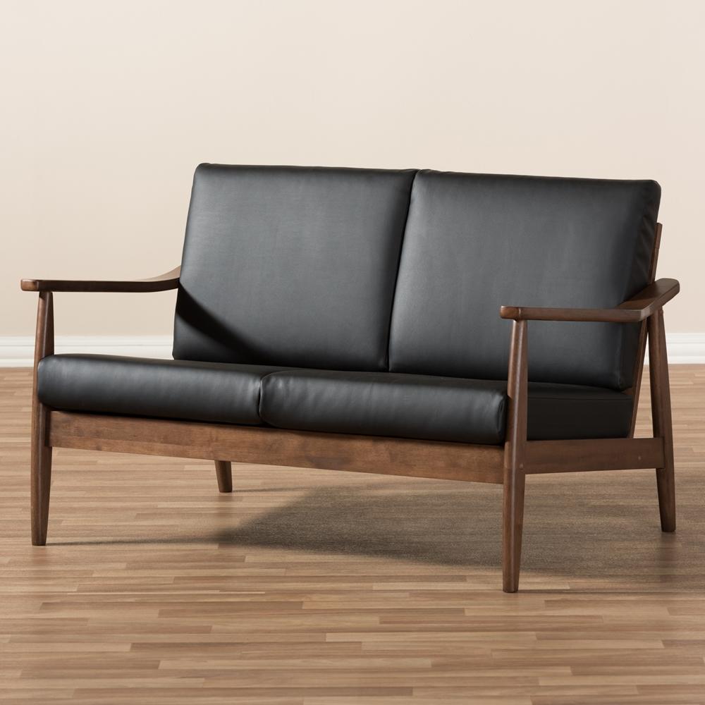 Baxton Studio Venza Mid-Century Modern Walnut Wood Black Faux ...