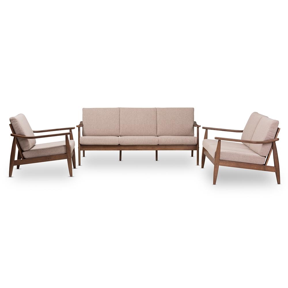 Groovy Baxton Studio Venza Mid Century Modern Walnut Wood Light Brown Fabric Upholstered 3 Piece Livingroom Set Onthecornerstone Fun Painted Chair Ideas Images Onthecornerstoneorg