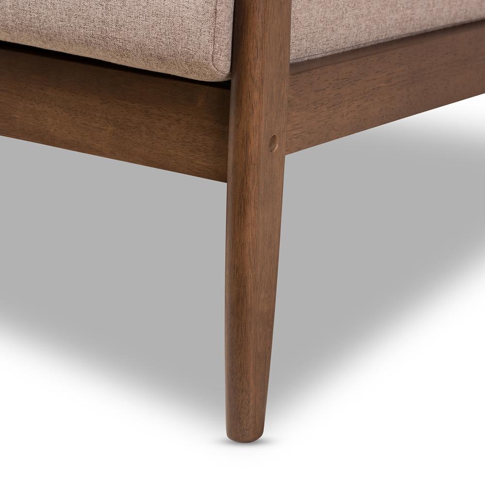 Baxton studio venza mid century modern walnut wood light brown fabric upholstered 3 piece
