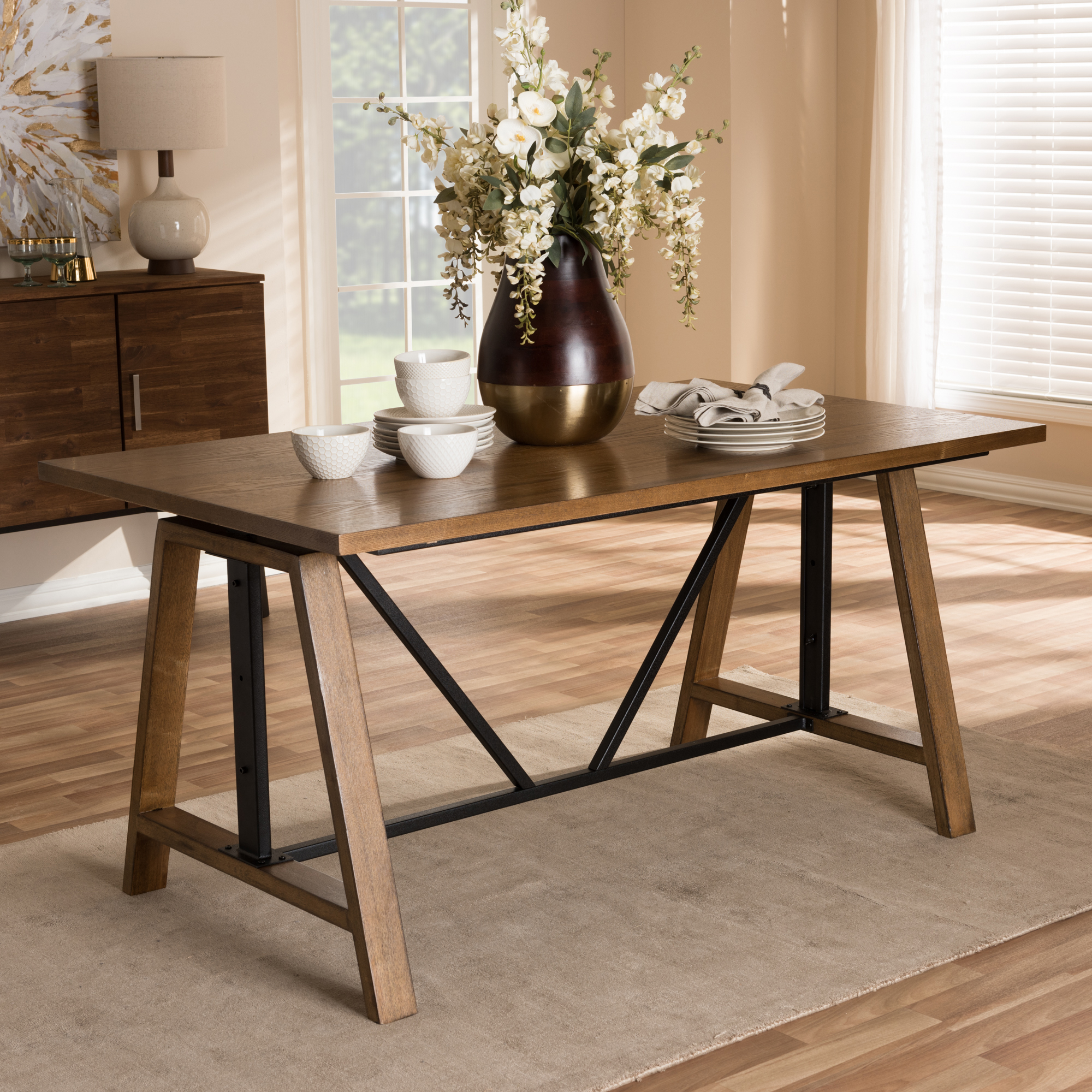 ... Baxton Studio Nico Rustic Industrial Metal And Distressed Wood  Adjustable Height Work Table   IEYLX  ...