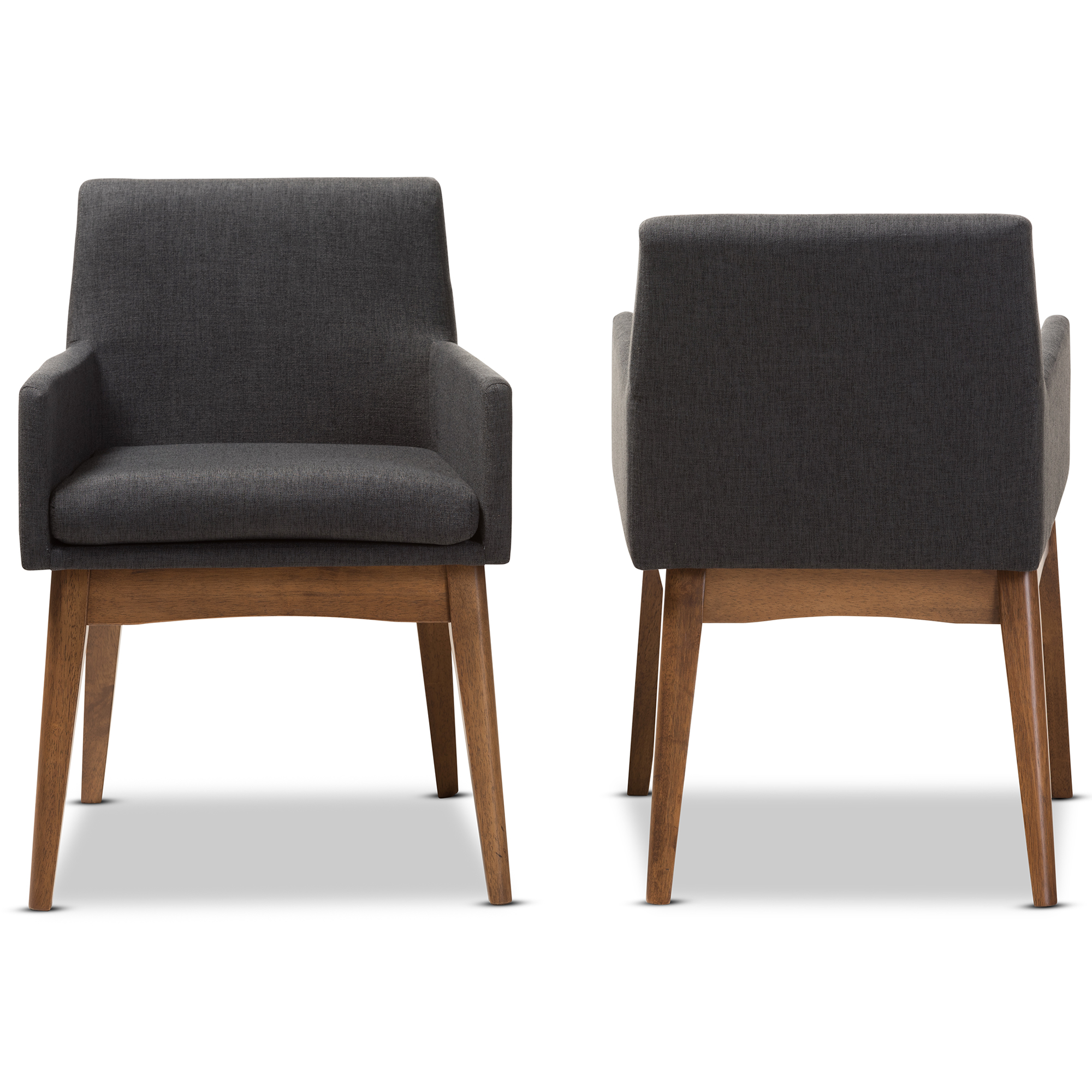 Charmant ... Baxton Studio Nexus Mid Century Modern Walnut Wood Finishing Dark Grey  Fabric Dining Armchair ...