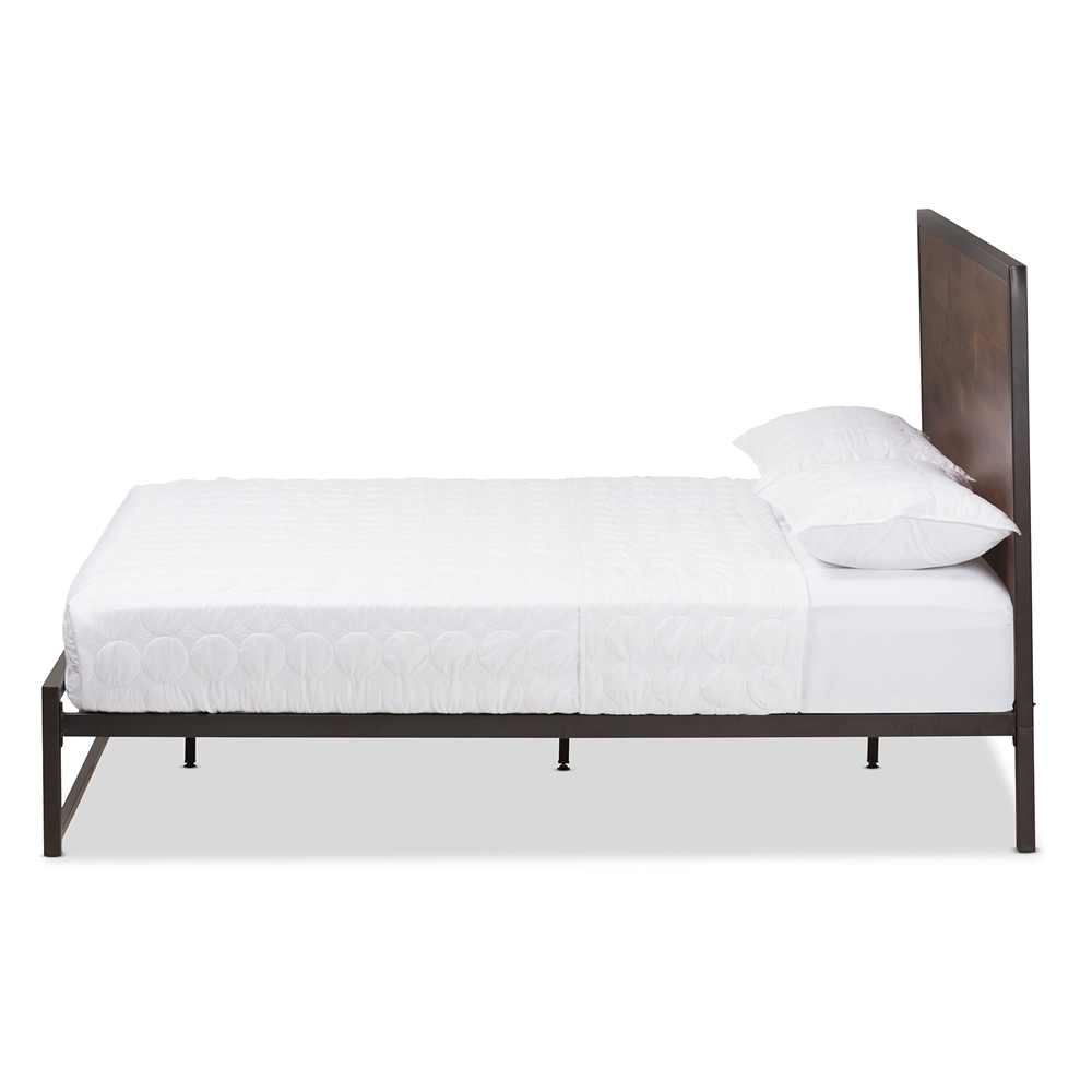 Baxton Studio Santa Rustic Industrial Black Finished Metal Coco Brown Wood Full Size Platform Bed