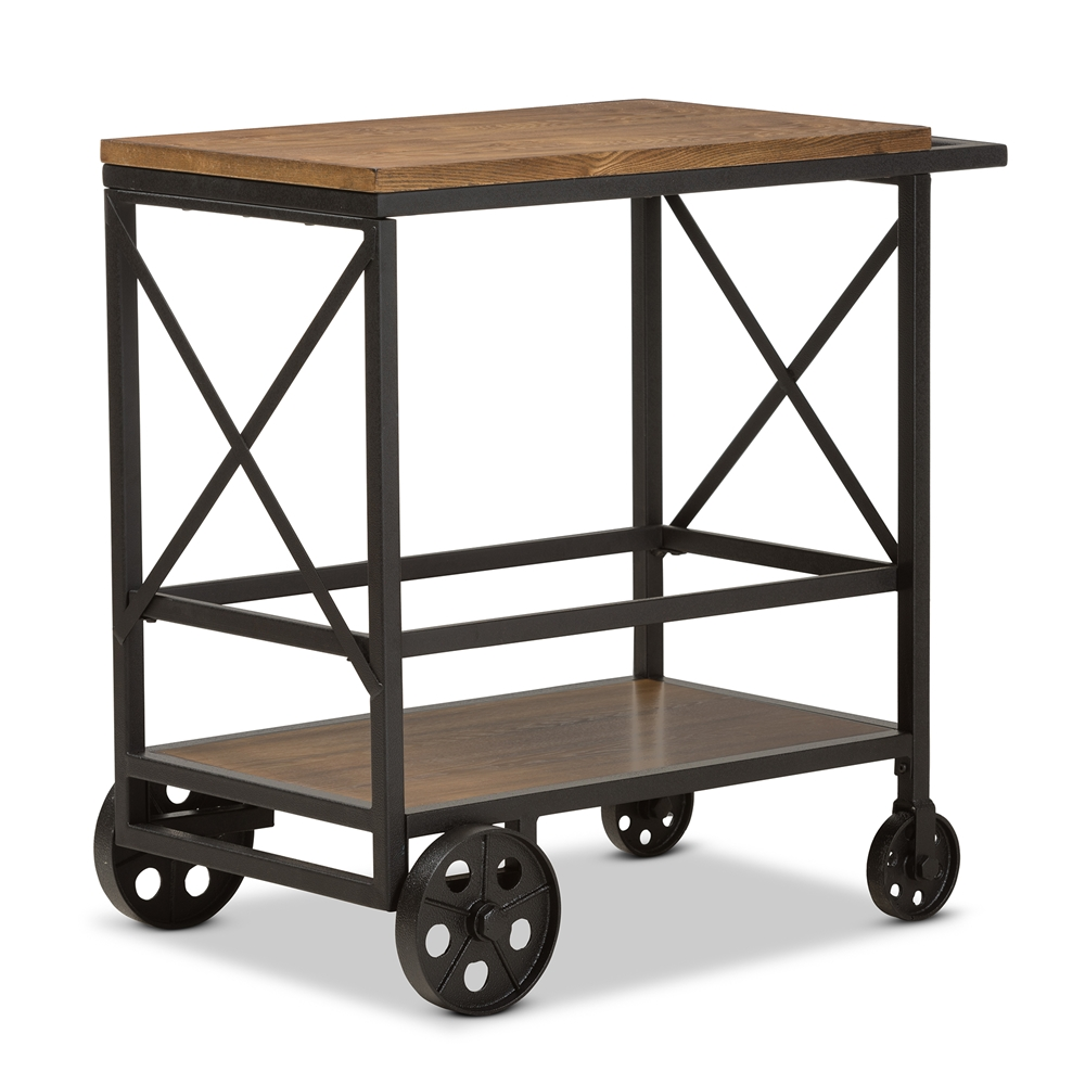 Marvelous Baxton Studio Chester Rustic Industrial Style Oak Brown Finished Wood And Black Finished Metal Console Table Mobile Serving Cart Spiritservingveterans Wood Chair Design Ideas Spiritservingveteransorg