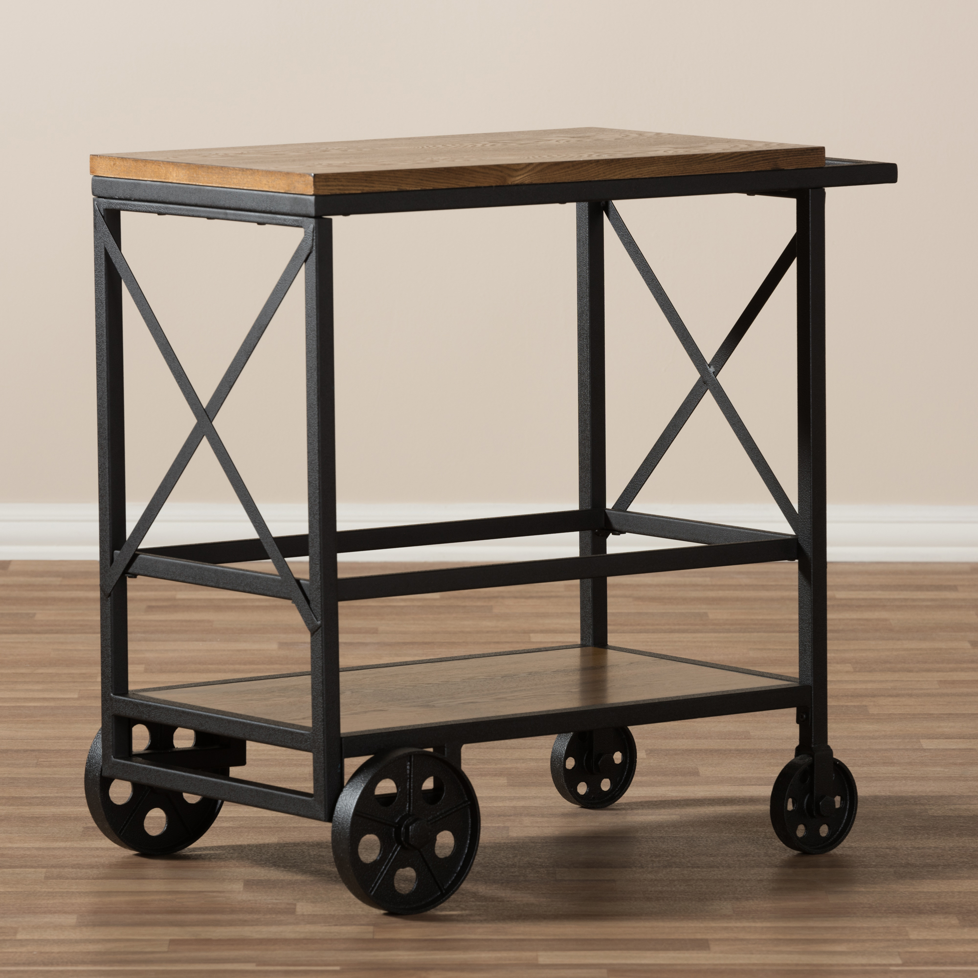 ... Baxton Studio Chester Rustic Industrial Style Oak Brown Finished Wood  And Black Finished Metal Console Table ...
