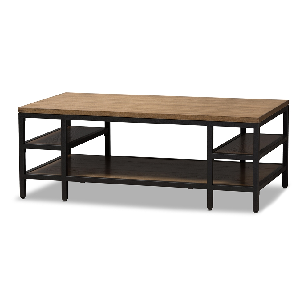 Baxton Studio Caribou Rustic Style Oak Brown Finished Wood And Black Metal Coffee Table
