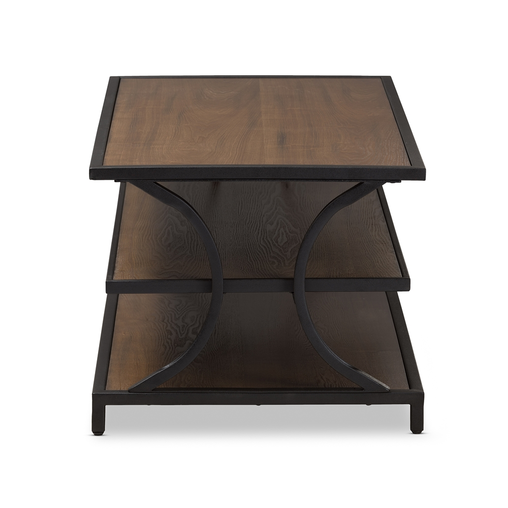 Superb Baxton Studio Lancashire Rustic Industrial Style Oak Brown Finished Wood And Black Finished Metal Coffee Table Machost Co Dining Chair Design Ideas Machostcouk