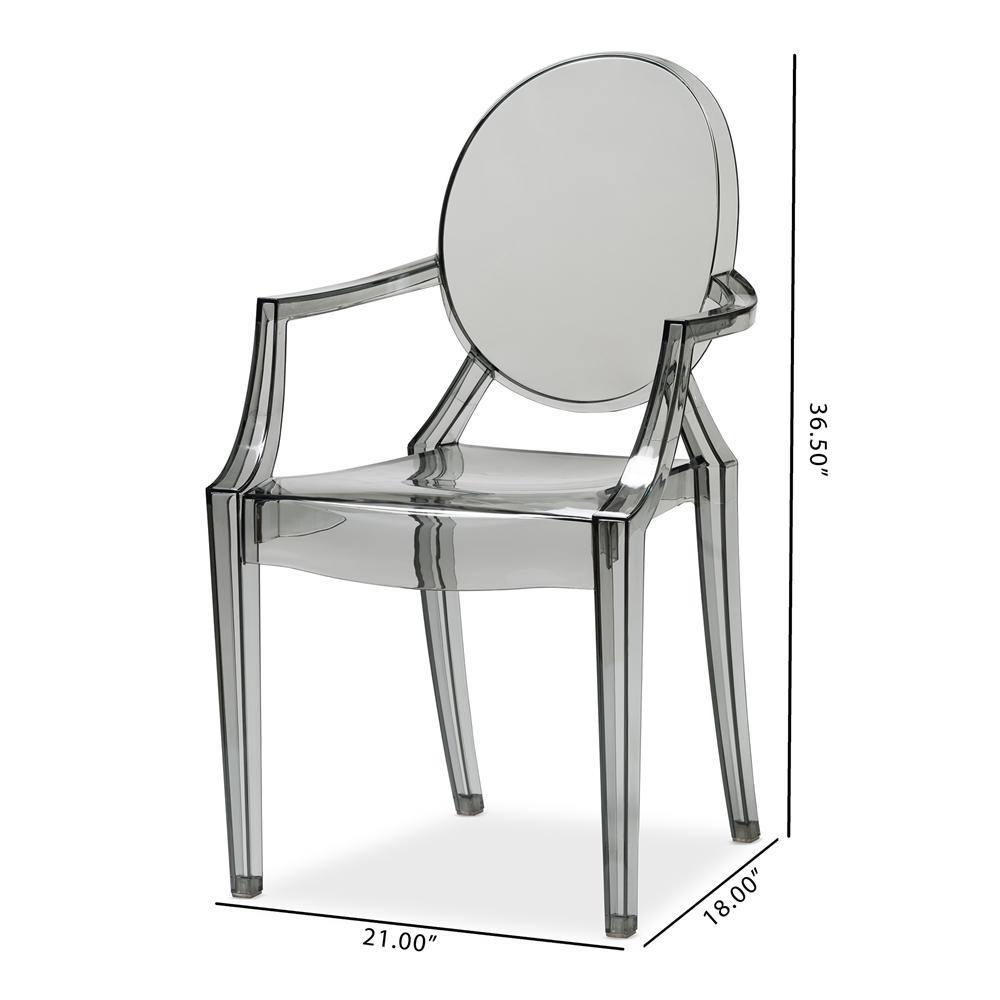 baxton studio dymas modern smoke acrylic armed ghost chair set of 2