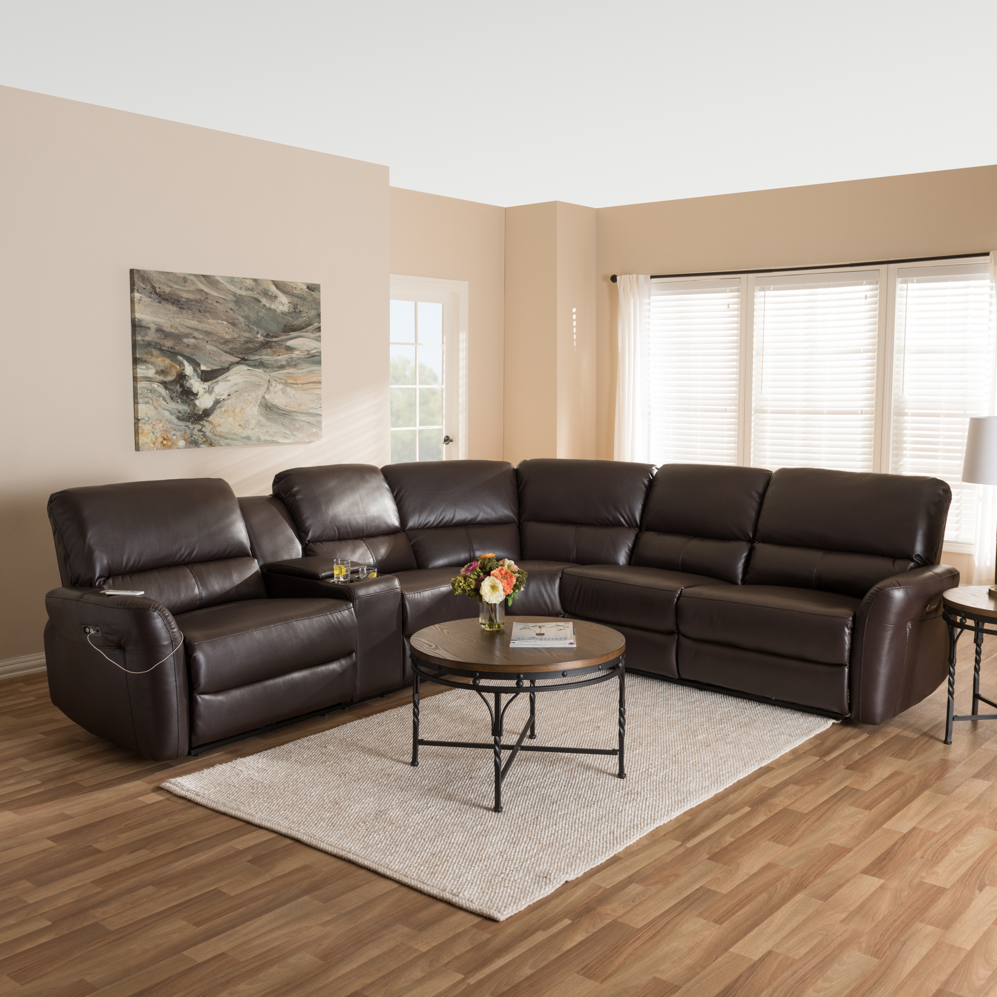 ... Baxton Studio Amaris Modern And Contemporary Dark Brown Bonded Leather 5  Piece Power Reclining Sectional ...