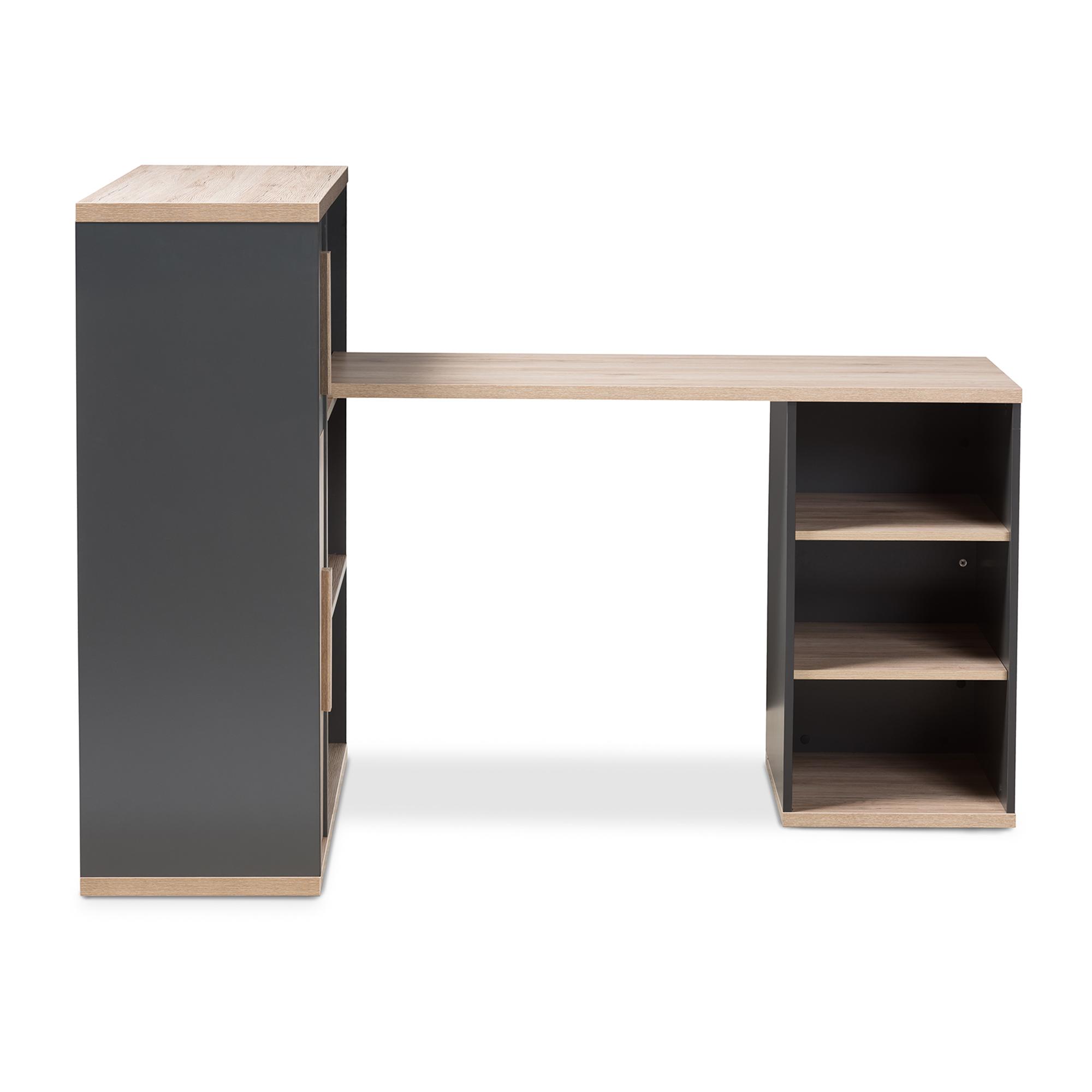 ... Baxton Studio Pandora Modern And Contemporary Dark Grey And Light Brown  Two Tone Study Desk ...