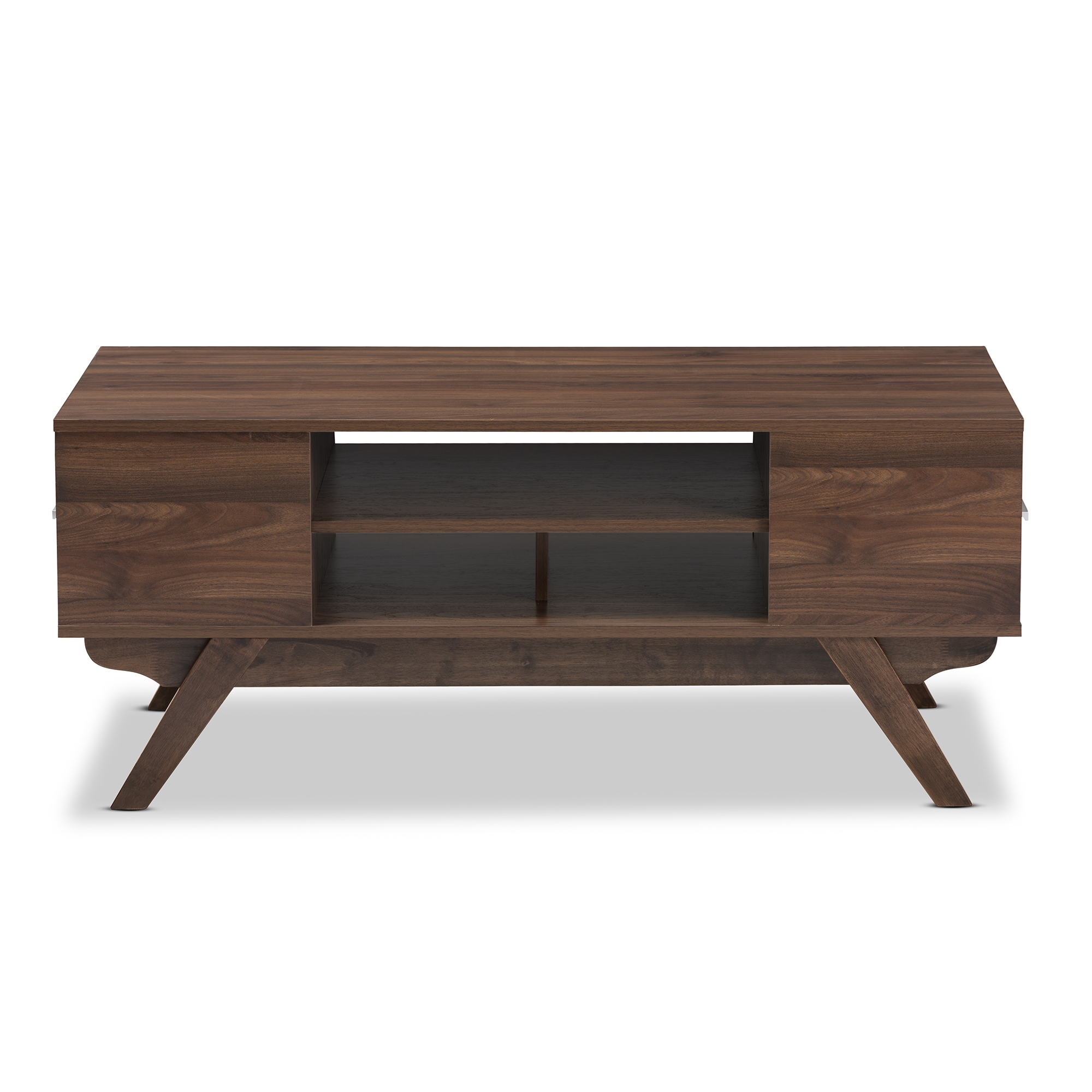 ... Baxton Studio Ashfield Mid Century Modern Walnut Brown Finished Wood  2 Drawer Coffee Table ...