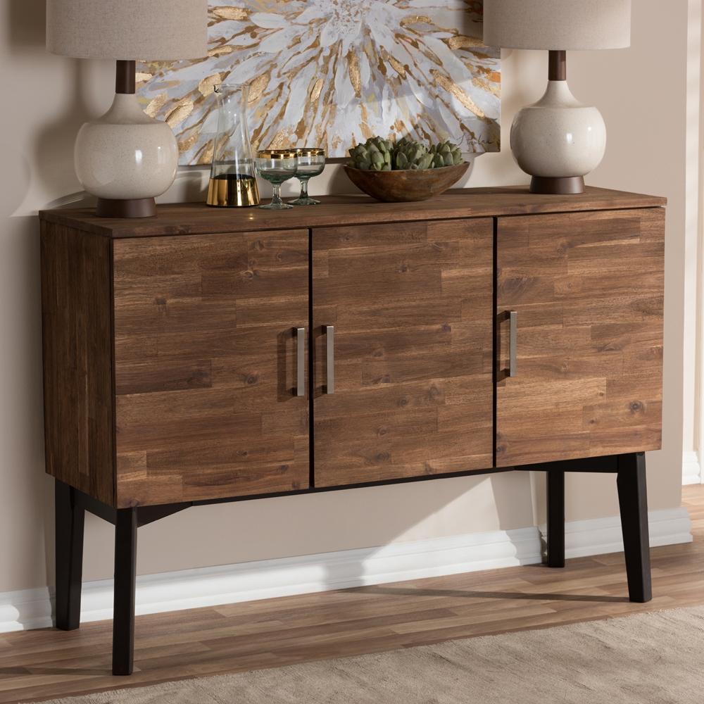 Baxton Studio Selena Mid Century Modern Brown Wood 3 Door