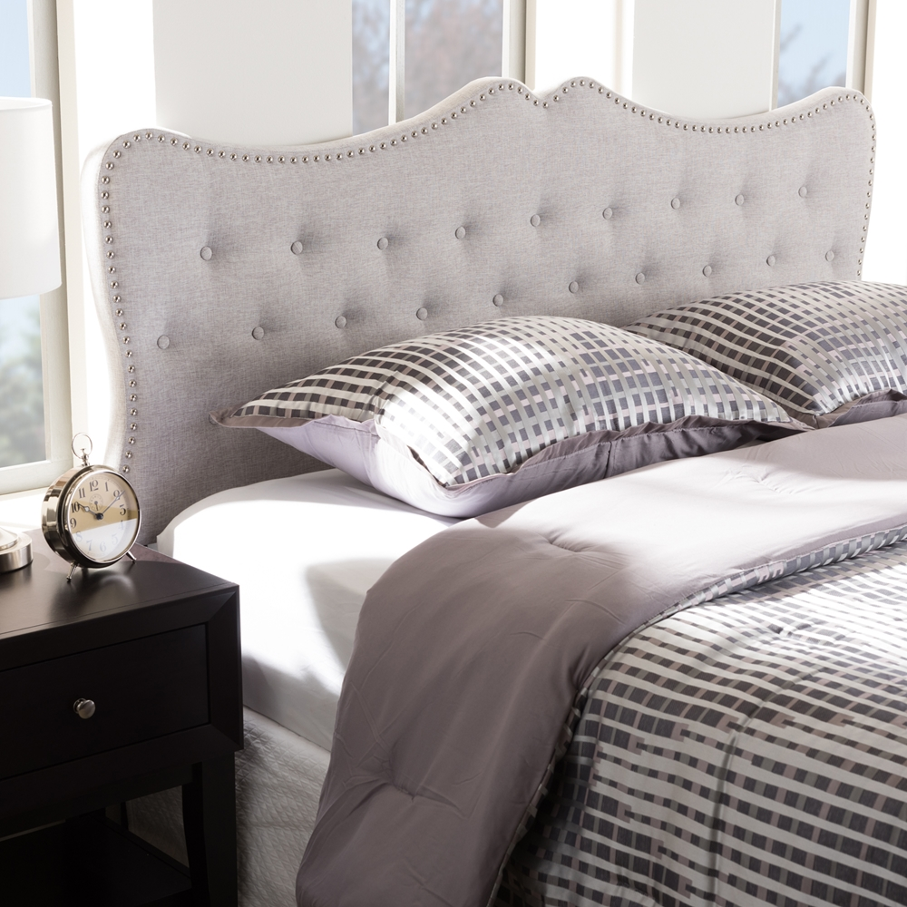 bed bedding grey king headboard queen frame with platform high back upholstered padded sleigh beige beds fabric