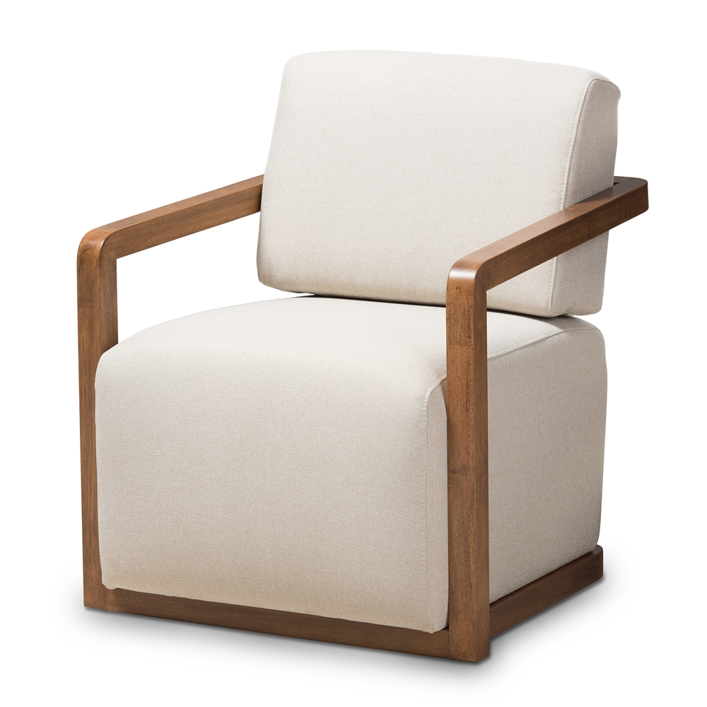Prime Baxton Studio Sawyer Mid Century Modern Light Beige Fabric Upholstered Walnut Wood Armchair Gamerscity Chair Design For Home Gamerscityorg