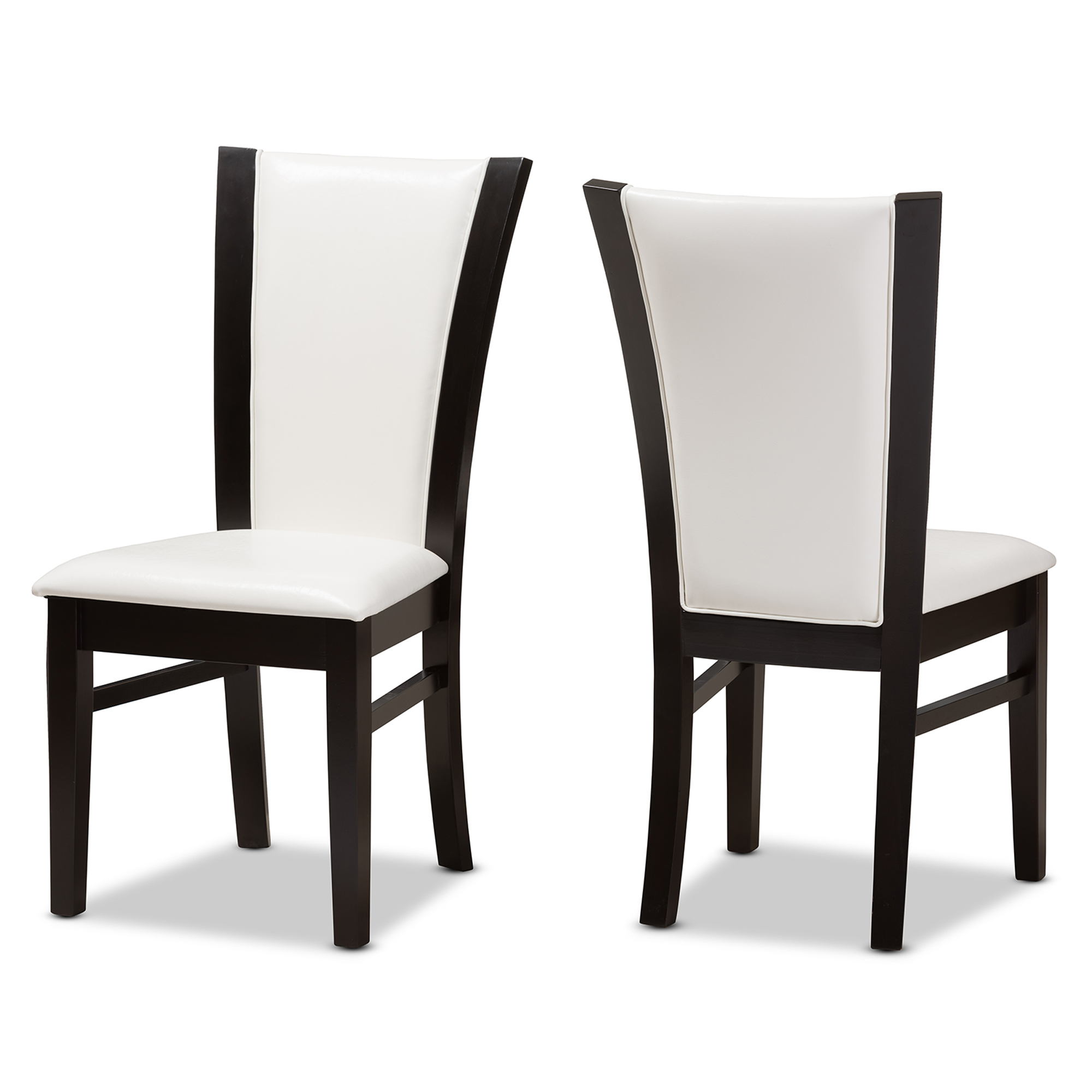 Baxton Studio Adley Modern And Contemporary Dark Brown Finished White Faux  Leather Dining Chair Set Of ...