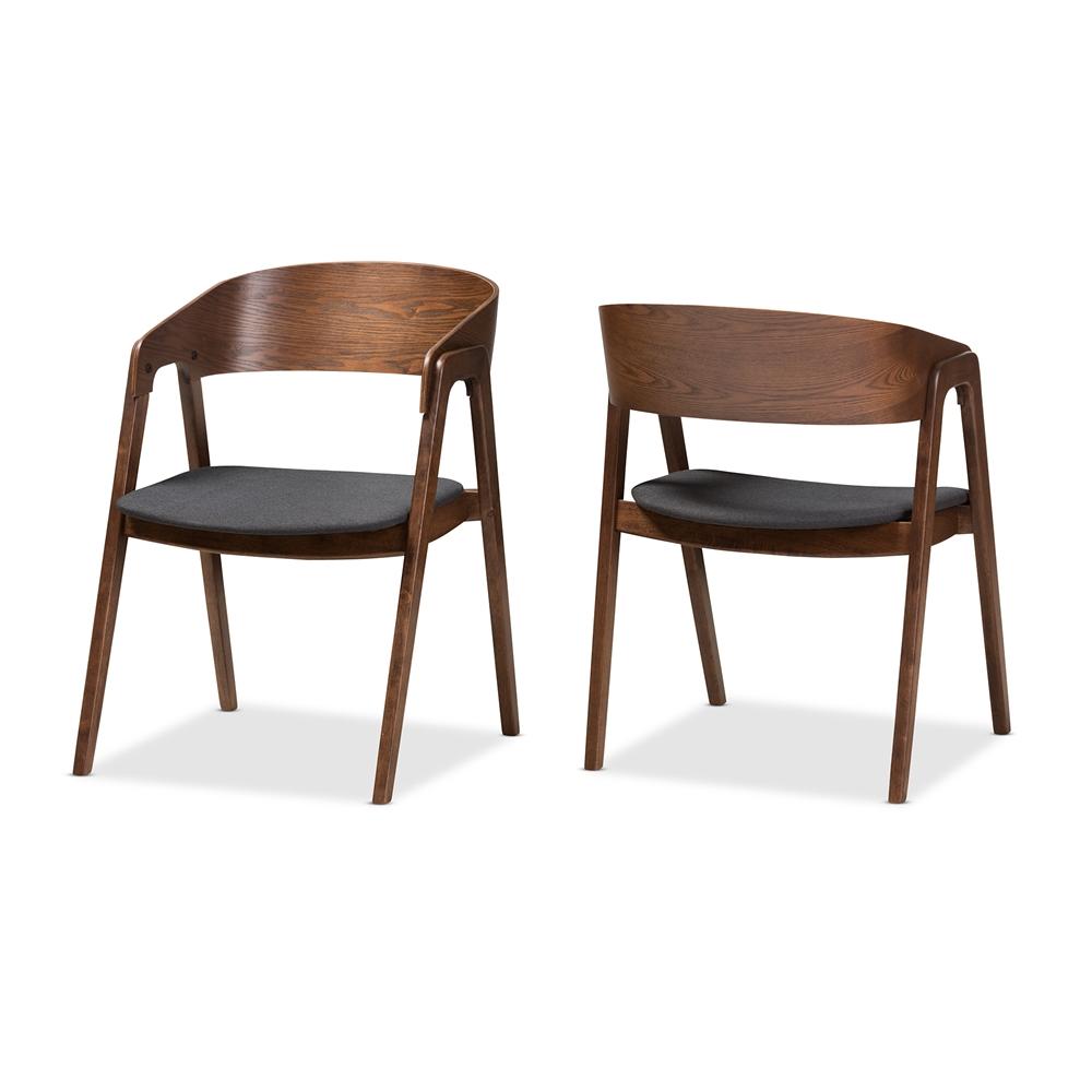 Baxton Studio Tatum Mid Century Modern Walnut Wood Dark Grey Fabric Dining Chair Set Of