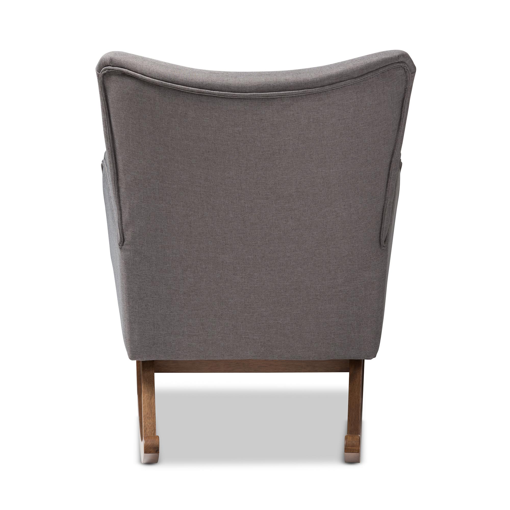 ... Baxton Studio Waldmann Mid Century Modern Grey Fabric Upholstered  Rocking Chair   IEBBT5303 Grey ...