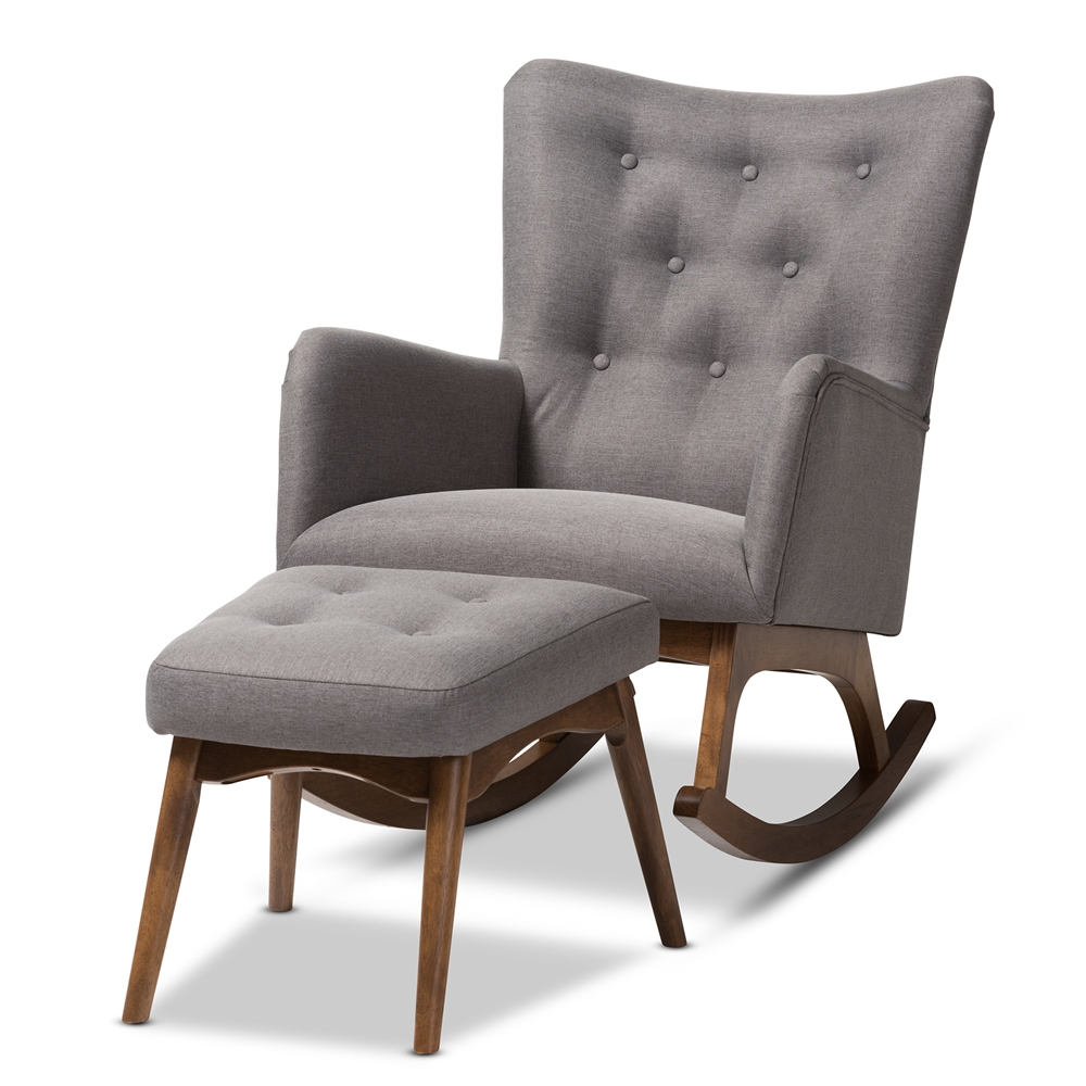 Stupendous Baxton Studio Waldmann Mid Century Modern Grey Fabric Upholstered Rocking Chair And Ottoman Set Alphanode Cool Chair Designs And Ideas Alphanodeonline