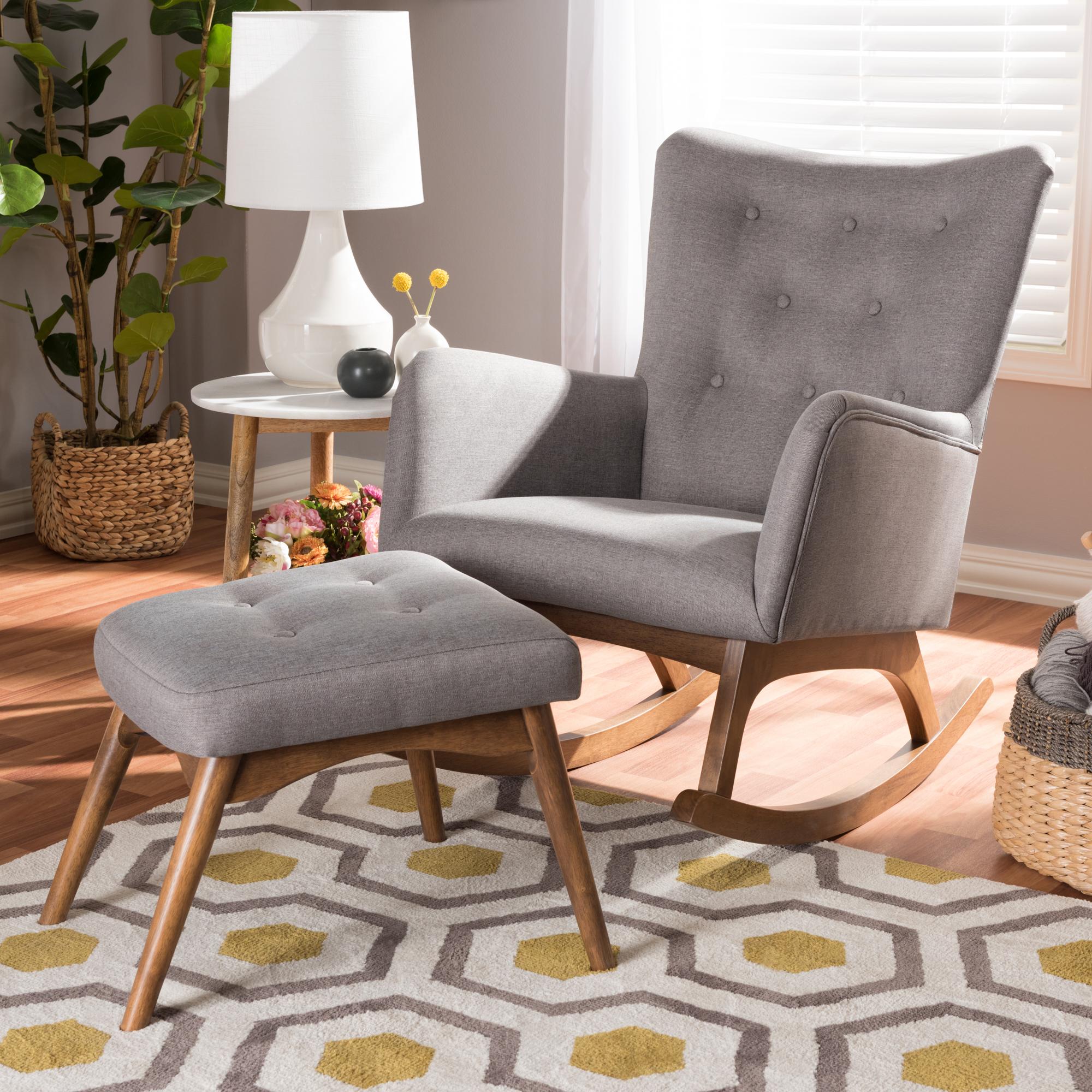 ... Baxton Studio Waldmann Mid Century Modern Grey Fabric Upholstered  Rocking Chair And Ottoman Set ...
