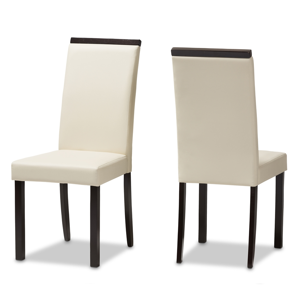 Baxton Studio Daveney Modern and Contemporary Cream Faux Leather  Upholstered Dining Chair Set of 2