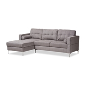 Baxton Studio Mireille Modern and Contemporary Light Grey Fabric Upholstered Sectional Sofa Baxton Studio restaurant furniture, hotel furniture, commercial furniture, wholesale living room furniture, wholesale sofas and loveseats, classic sectional sofas