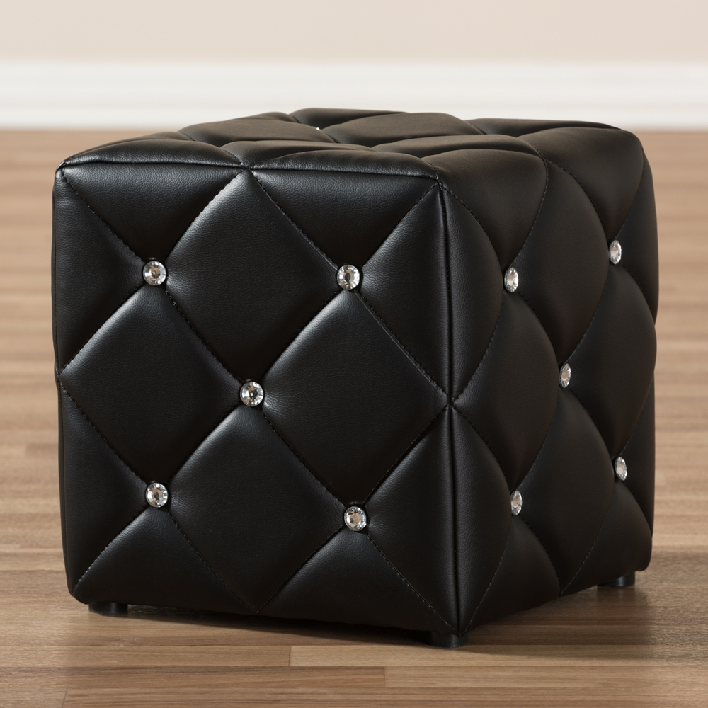 Remarkable Baxton Studio Stacey Modern And Contemporary Black Faux Leather Upholstered Ottoman Bralicious Painted Fabric Chair Ideas Braliciousco