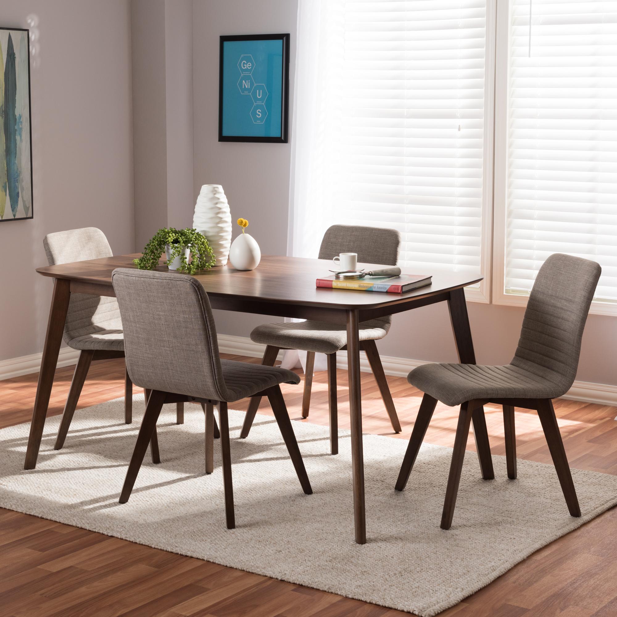 Baxton Studio Sugar Mid Century Modern Light Grey Fabric Upholstered Walnut  Wood Finished 5 Piece Dining Set